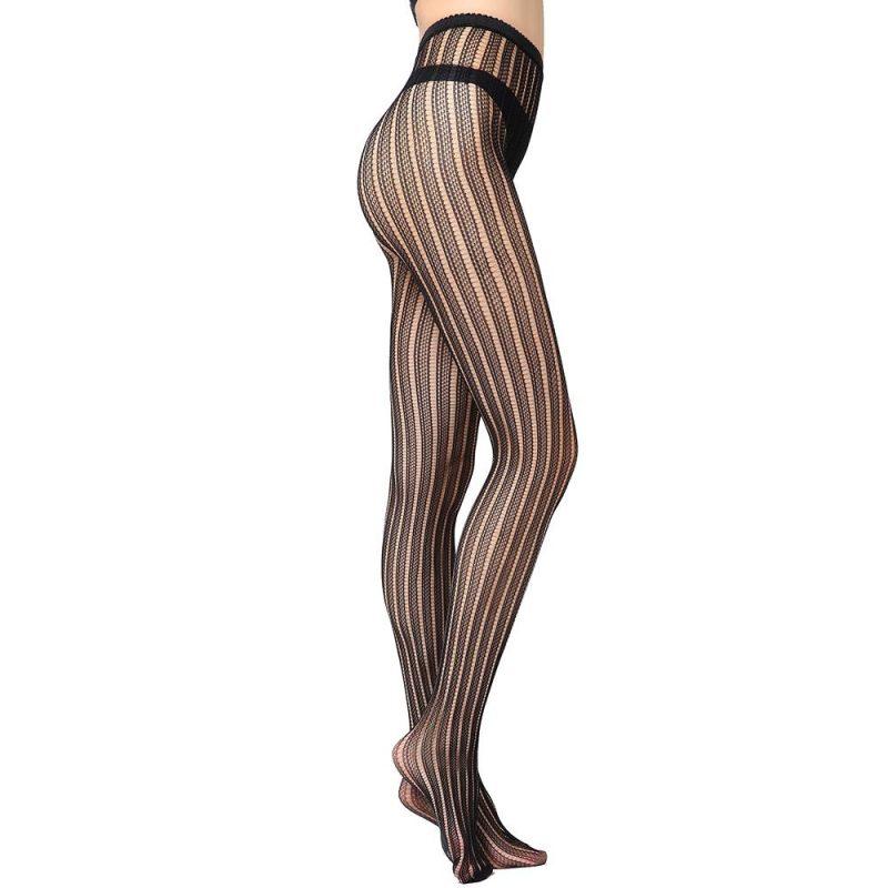 Super Sexy Black Stripe Fishnet Pantyhose