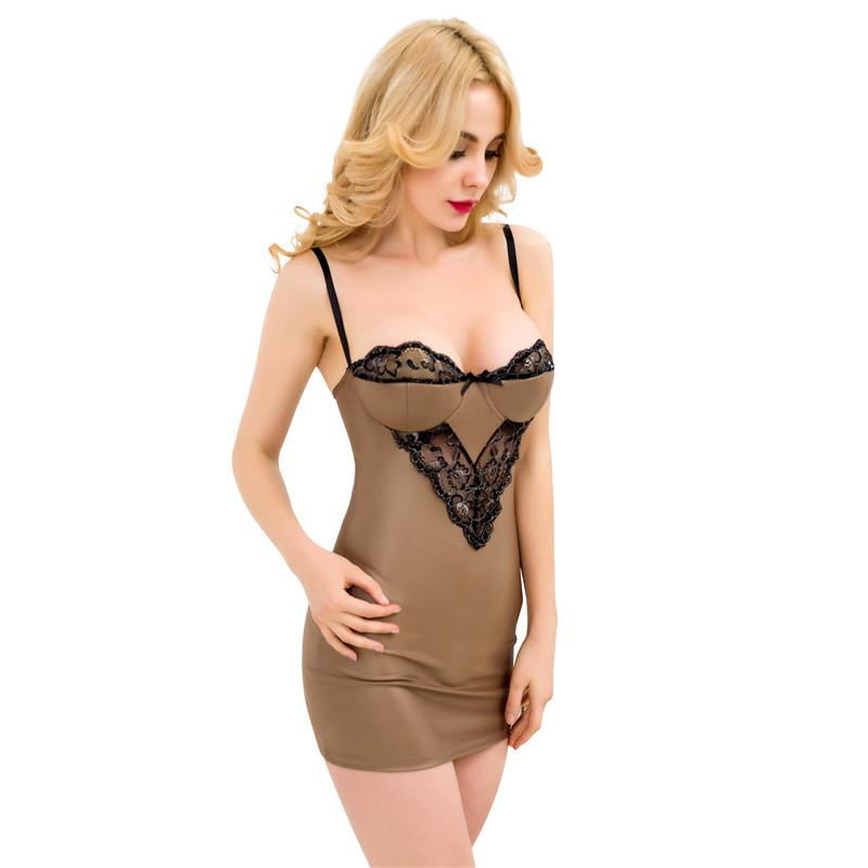 Taupe Leather Chemise with Black Lace Detail