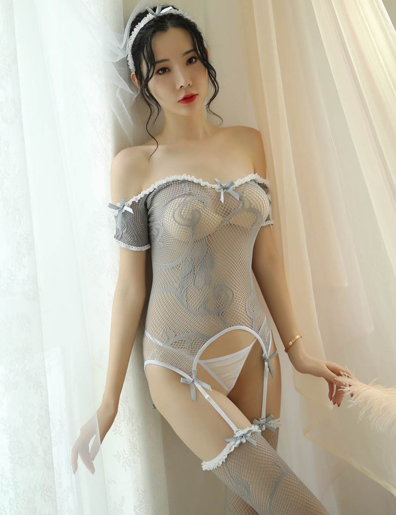 Taupe Mesh Lingerie Bodysuit with Suspenders and Stockings