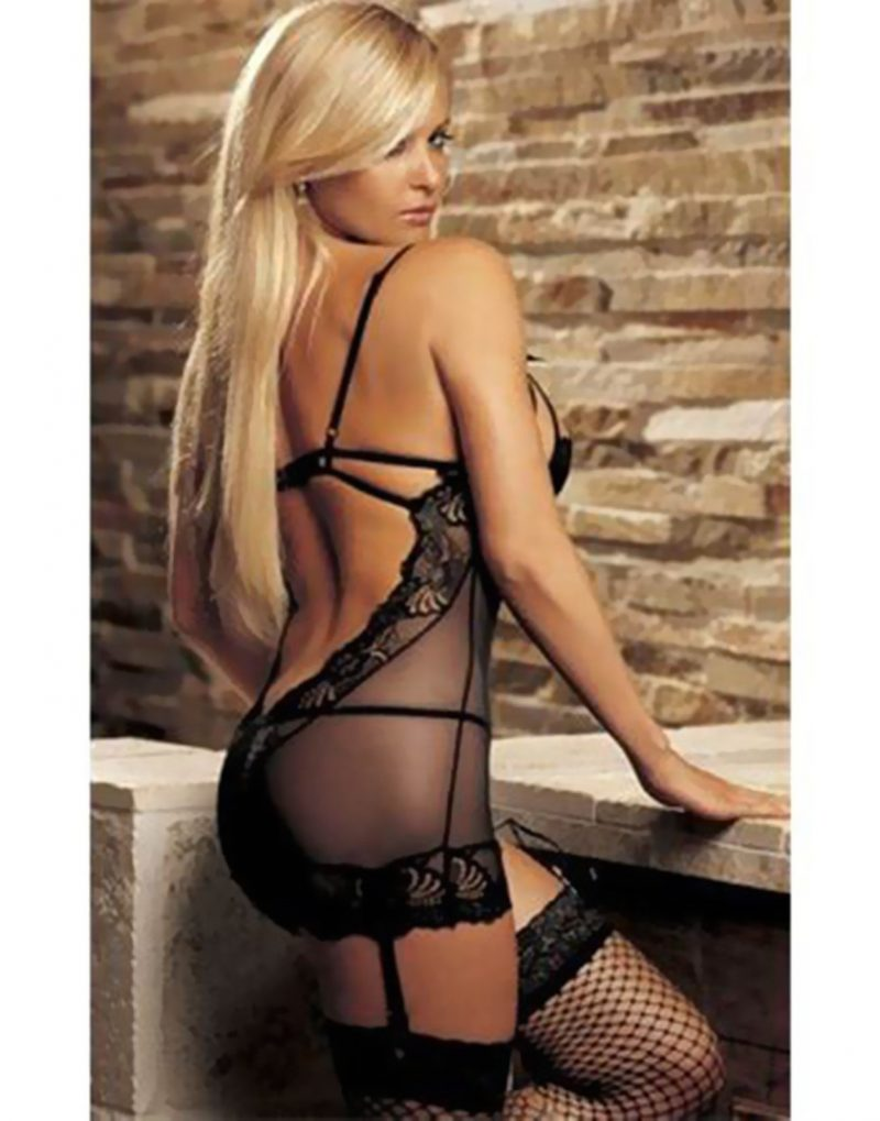 Titillating Black Pushup Lace Babydoll with Matching G-string and Suspenders