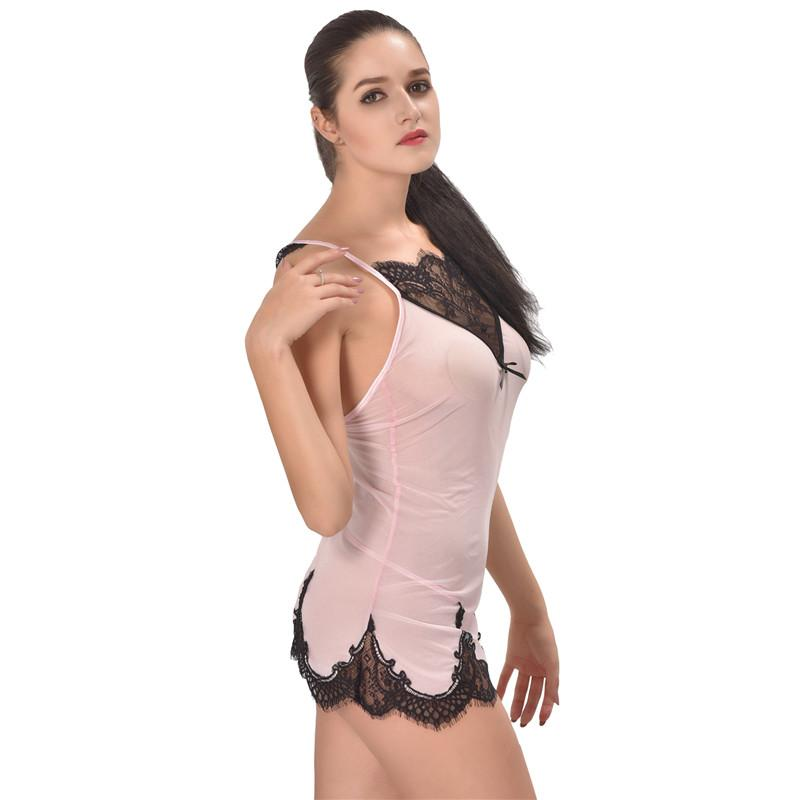 Transparent Sexy Pink Heart Lace Floral Embroidered Nightie