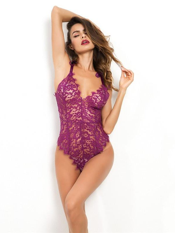 Violet Vintage Lace V-Neck Body with Raw Edge