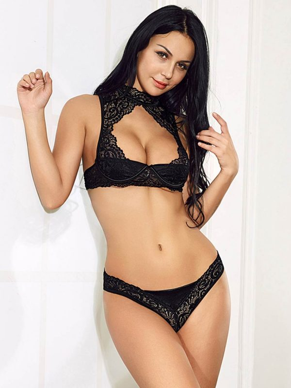 Vivacious Black Lace Embroidered Lingerie Pair