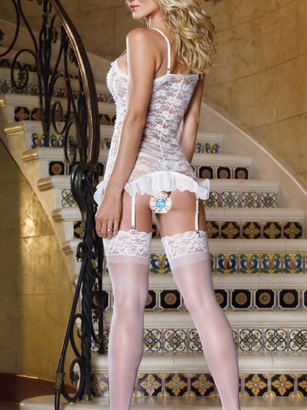 White Bridal Floral Pattern Lace Chemise With Matching Suspenders And Stockings