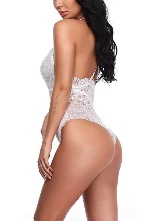 White Deep V-neck Lace Bodysuit with Snap Crotch and Scalloped Edge