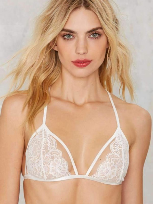 White Floral Lace Unpadded Bra with Spaghetti Straps