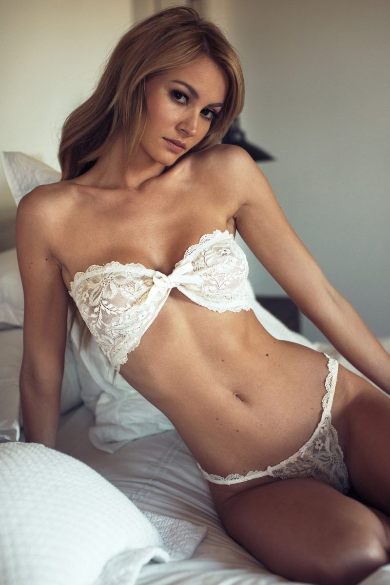 White Lace Corset Bandeau Bra and Thong Set