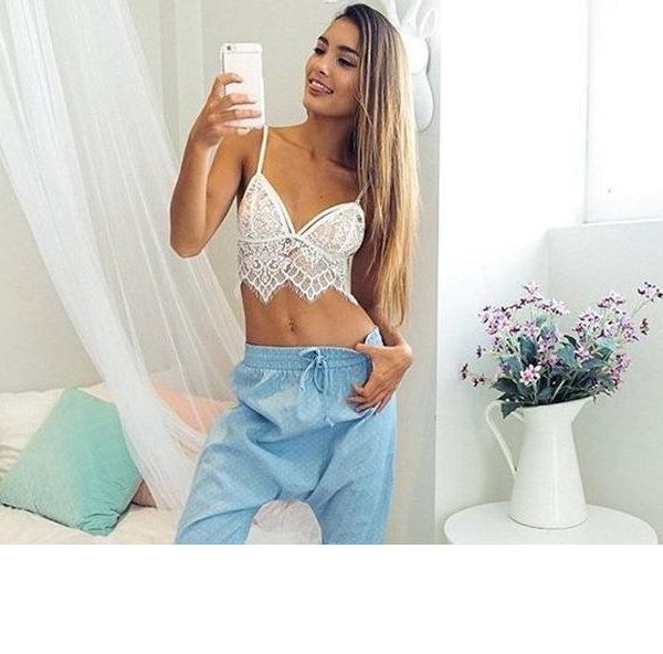 White Lace Sheer Bralette Bustier Crop Top with Floral Design and Zig Zag Hem