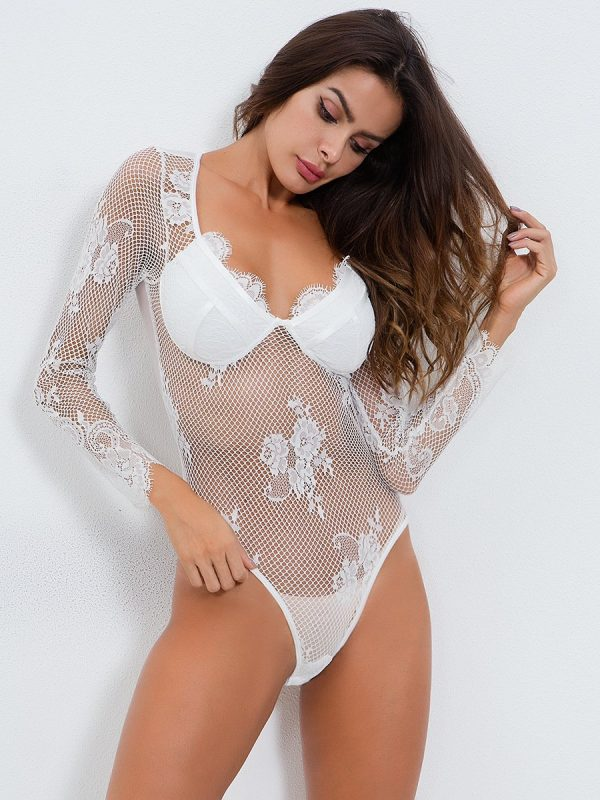 White Long-sleeve Mesh with a Flower Motif Teddy