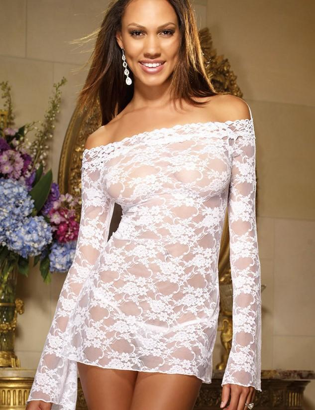 White Long-sleeved Babydoll Nightdress with Flower Pattern