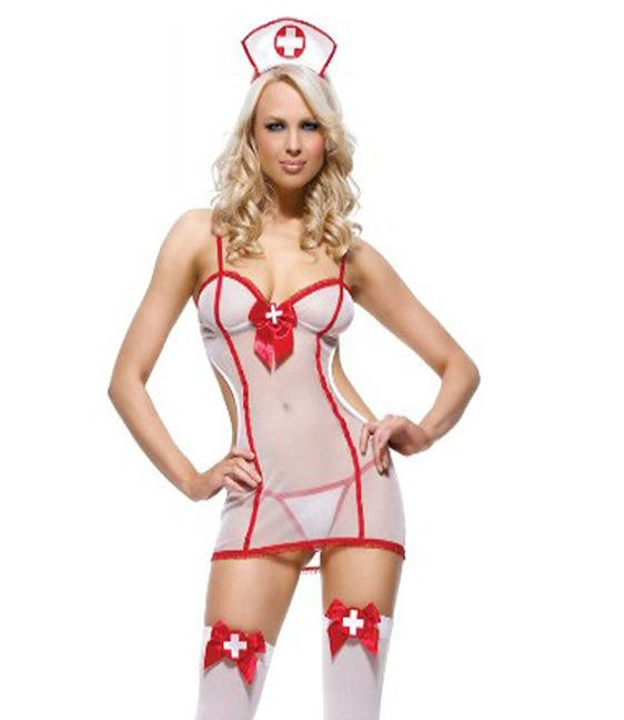 White Nurses Cosplay Outfit with Mesh Babydoll