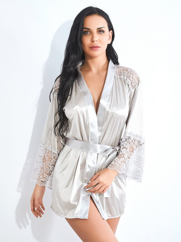 White Satin Robe with Intricate Lace Patchwork Sleeves