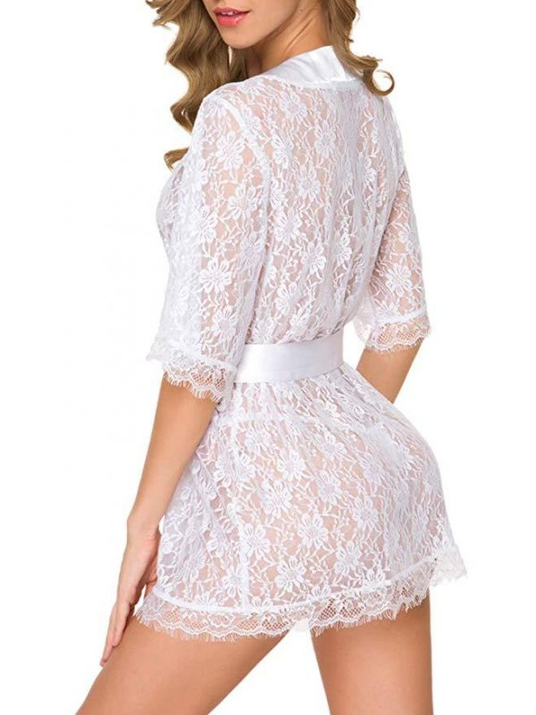 White Short-sleeved Lace Robe with Flower Pattern and Satin Ribbon