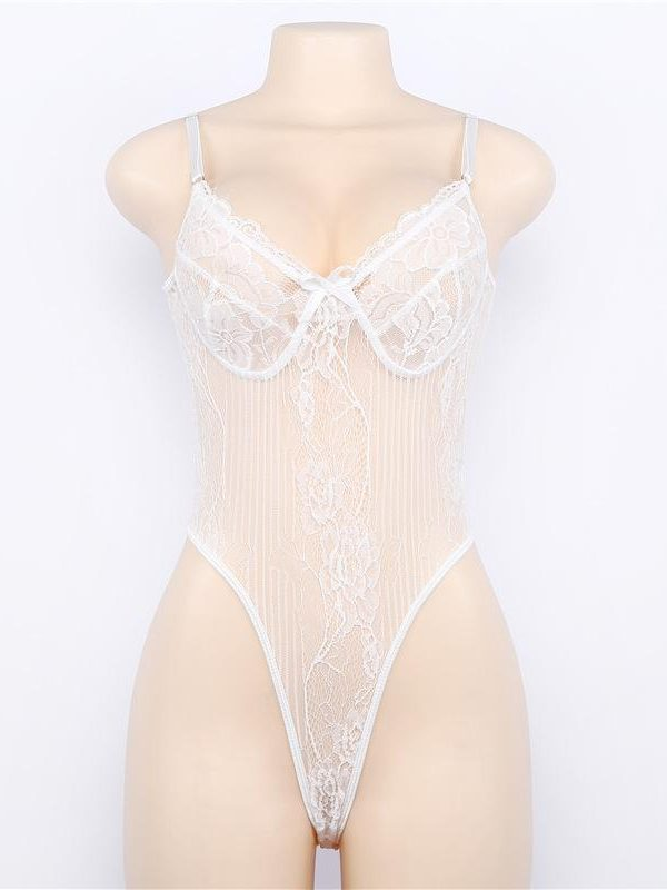 White Tabitha Lace Bodysuit with Floral Pattern and Lace Trim